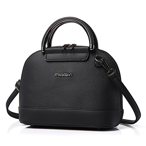 koson-man-womens-sweet-simple-pure-color-leather-shell-type-casual-bags-tote-bagsblack