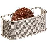 mDesign Accesorio para cocina - Porta estropajos cocina - Ideal como porta esponjas, estropajos y/o jabón para mantener su cocina organizada - Fuerte sujeción - Color: Champagne perla