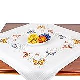 Stickpackung Schmetterlinge, Komplettes vorgezeichnetes Kreuzstich Tischdecken Set Zum Sticken, Stickset mit Stickvorlage