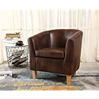 WestWood Faux Leather Tub Chair Armchair Dining Living Room Lounge Office Modern Furniture Vintage Brown New
