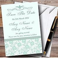 Pretty verde menta e salvia floreale cancelleria di nozze di diamante personalizzato Save the date C..., 40 Invites & Envelopes