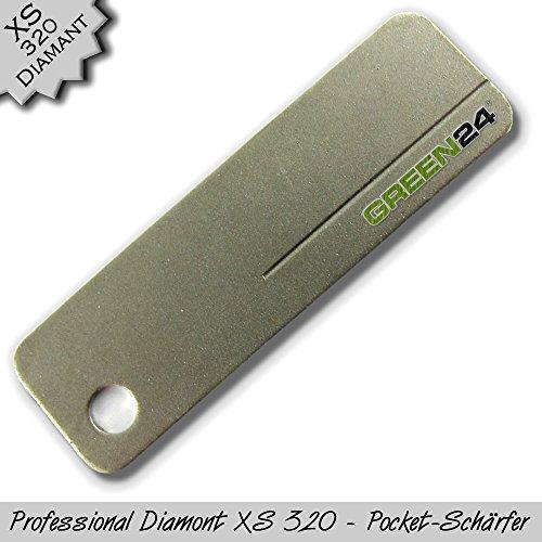 GREEN24 Diamant Schleifstein XS320 Pocket – Messerschärfer Messerschleifer Abziehstein Metall Edelstahl Diamantschärfer Diamantschleifer