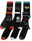 Pack of 6 Mens BEST DAD Designer Cotton Rich Socks Shoe Size 6-11