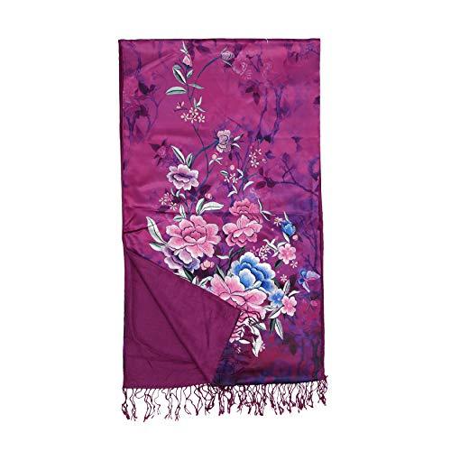 LanSilk Damen Seidentuch Mode - Elegant, Luxus Leichter Seidenpashmina & Cashmere Damenschal Kopftuch Halstuch Haarschal Langer Schal Große Schals Auswahl (Art Flower Purple Pink Rose Camelot) -