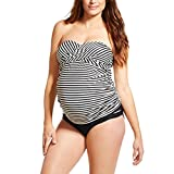 Inlefen Zweiteiler Damen Bikini Umstandsmode Kleid Tankini gestreiften Druck Bademode trägerlosen Umstandskleid L