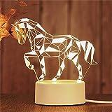 Luz de noche 3D llevó lámpara de mesa decorativa regalo de cumpleaños luz de noche caballo blanco 210 * 110 (mm)