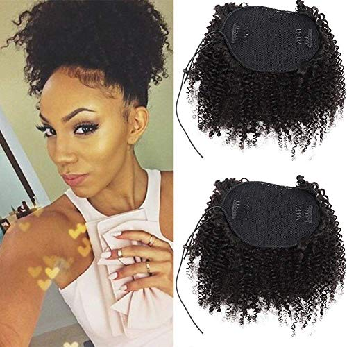 Afro Kinky - Extensiones de coleta de pelo humano rizado con cordón d