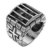 LuremeŽ Punk Vintage Ancient Maya Retro Biker Gothic Chrome Hearts Style Stainless Steel Stripe Silver Black Wide Band Ring for Men(04001175-parent) (9)