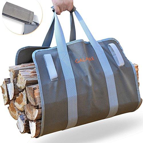 Bolsa de madera de leña Tarea pesada 16oz Lona Transportar Madera Chimenea...