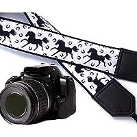 intepro schwarz Pferde Kameragurt. Schwarz und Weiß Kameragurt. DSLR/SLR Kamera Gurt. Robust, leichtes und gut gepolstert Kamera Strap. Code Leckerlis