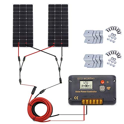 ECO-WORTHY 200 Watt (2 x 100 Watt) Monokristallines Solarpanel Komplett-Kit für netzunabhängige Caravan-Boote mit LCD-Laderegler + Solarkabel + Montagehalterungen