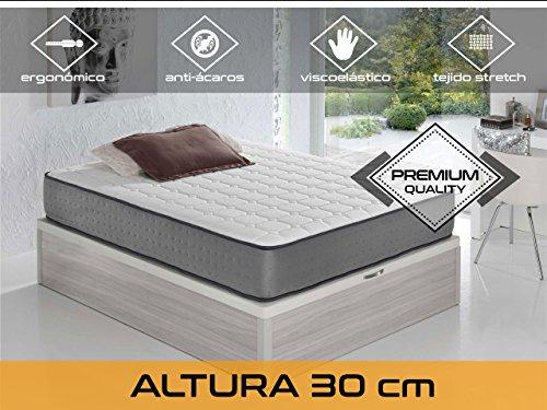Relaxing - Confort Elax 30 5.0  -  Colchón viscoelástico y grafeno, Blanco/Gris, 160 x 200 x 30 cm