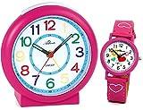 Atlanta Kinderwecker ohne Ticken für Mädchen Rosa Pink + Armbanduhr Lernuhr - 1917-8 KAU