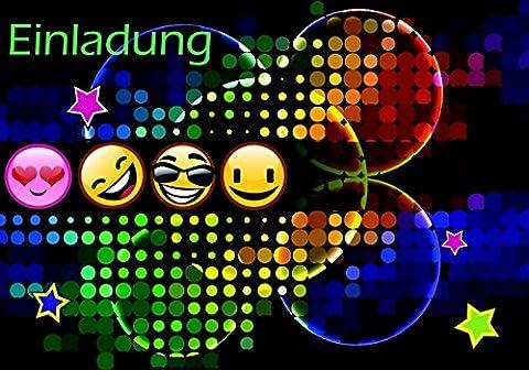 10 lustige Einladungskarten für Kindergeburtstag im Set mit 4 Smiley Emoji Geburtstags-Party Postkarte für Jungen und Mädchen. Birthday-Party Deutsche