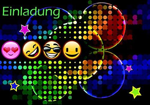 10 lustige Einladungskarten für Kindergeburtstag im Set mit 4 Smiley Emoji Geburtstags-Party Postkarte für Jungen und Mädchen. Birthday-Party Deutsche Druckerei