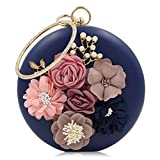 Onfashion Damen/Frauen/Mädchen heiße und gefragte neue rundliche erstklassige und edel mit Perle Handtasche für Bankett(Blau)