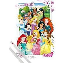 Póster + Soporte: Princesas Disney Póster (91x61 cm) Soy Una Princesa Y 1 Lote De 2 Varillas Transparentes 1art1®