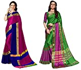Art Décor Sarees Women's Pack of 2 Sarees Cotton Silk Saree With Blouse (Pack of Two Sari) - More Then 10 Colors