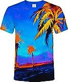 aofmoka Hawaii Palme Bäume Paradies Blau Ruhig Orange Urlaub Fluoreszierender Neon Blacklight Reaktiv T-Shirt