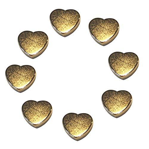 LeBigMag | 8 extrem starke N35 Neodym Gold Magnetherzen | Ø15 mm 4 mm hoch | vergoldete sehr solide Magnete in Herzform aus extrastarkem NdFeB | für Pinnwand Kühlschrank Magnettafel Glasmagnettafel
