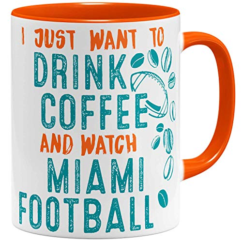 OM3® - Miami-Coffee - Tasse | Keramik Becher | American Football Mug | 11oz 325ml | Beidseitig Bedruckt | Orange -