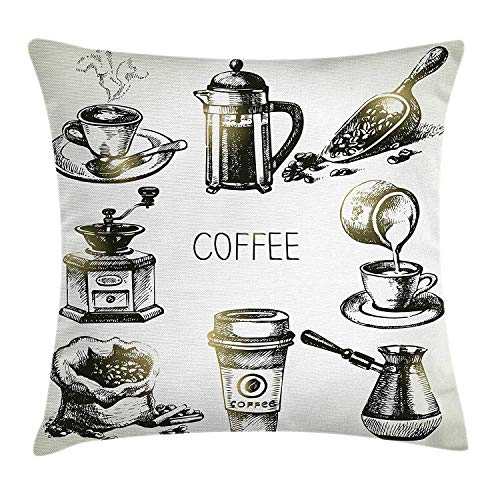 tgyew Coffee Throw Pillow Cushion Cover, Brewing Equipment Doodle Sketch Grinder French Press Plastic Cup Scoop Vintage, Decorative Square Accent Pillow Case, 18 X 18 inches, Black Yellow