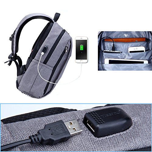 Fubevod Laptop Rucksack Erwachsene Rucksack Schulrucksack Daypacks Laptop Backpack Leichter Rucksack mit USB, Grau Grau-01