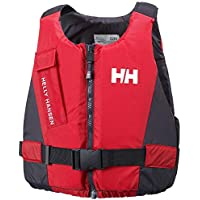 Helly Hansen Rider Vest - Unisex Life Vest with Front Zip, Low Bulk, Flare Pocket and Comfortable Materials, EN ISO Certified, Red/Ebony, 90+ Kg