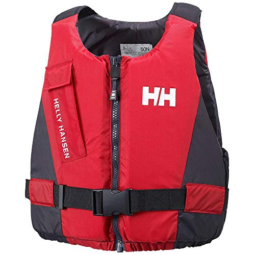 51COgHPfvpL. SS500  - Helly Hansen Rider Vest - Unisex Life Vest with Front Zip, Low Bulk, Flare Pocket and Comfortable Materials, EN ISO Certified, Red/Ebony, 90+ Kg