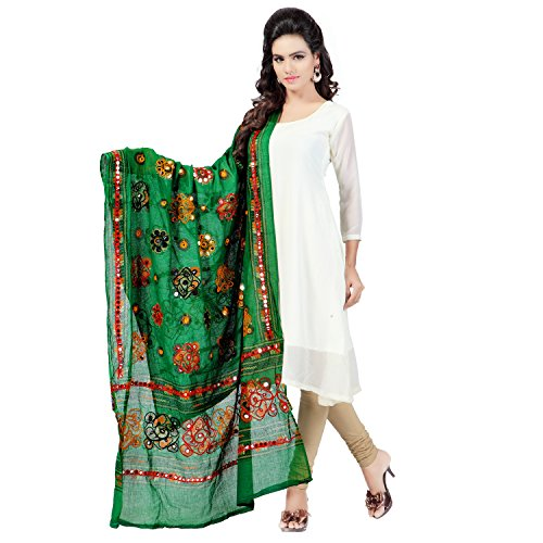 Banjara Women'S Cotton Stoles & Dupattas Kutchi Chakachak (Chk05 _Dark Green _Handicraft...