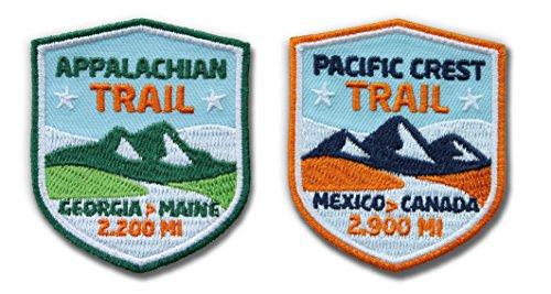 2er-Set Appalachian Trail & Pacific Crest Trail Abzeichen gestickt / Wanderweg Wandern USA Mexico Canada Georgia Main / Patch Aufnäher Aufbügler Sticker Flicken / Wanderführer Reiseführer Buch Trip