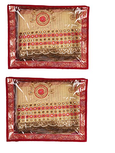 Glitter Collection (TM) Saree Bag combo pack of 2 Good quality saree bag for keeping apx 10 sarees CLRBAG02  available at amazon for Rs.499