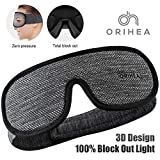 OriHea 100% Light Blocking Sleep Mask for Women & Men, Larger and Deeper 3D Contoured Eye Mask for Sleeping, Breathable and Super Soft Eye Cover, Ideal for Travel, Shift Work, Naps Black