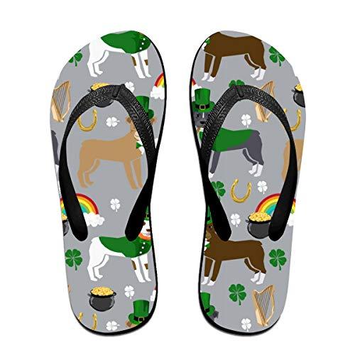 St Pattys Day St. Patricks Day Dog Design - Grey Flip Flops Rubber Thong Sandal Beach Slipper for Women/Men L ()