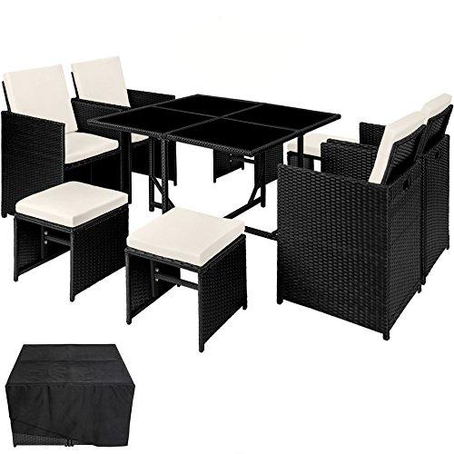 TecTake Conjunto muebles de jardín en ratán sintético comedor juego 4+4+1 + funda completa | tornillos de acero inoxidable - disponible en diferentes colores - (Negro | no. 402825)