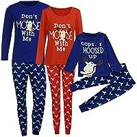 Pijamas de Navidad para Familiares, LILICAT Ropa de dormir de Navidad de Mamá & Papá & Yo, Ropa de dormir Manga Larga de las Mujeres Hombres Niños de Moda de Invierno-Blusa Tops+Pantalones (Mujer: M, Mujer Rojo)