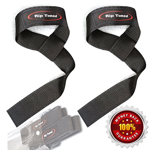 Lifting Wrist Straps by Rip Toned (Pair) - Bonus Ebook - Lifetime Warranty - Cotton Padded - For Weightlifting, Bodybuilding, Crossfit, Strength Training, Powerlifting, MMA (Black) (Flex-fit Training Womens)