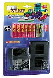 Desconocido Dickie 2188206  - Charger Kit, 6x1, 2V baterías de NiCd R6-750mAh, Base de Carga, Bloque 1x9V