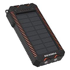 Idea Regalo - POWERADD Powerbank Solare Apollo2 Caricabatteria Portatile Batteria Esterna con Pannello Solare iPhone, iPad, Smartphone e Tablet,12000mah con 2 Luci LED - Doppia Uscita USB - Accendisigari Integrato