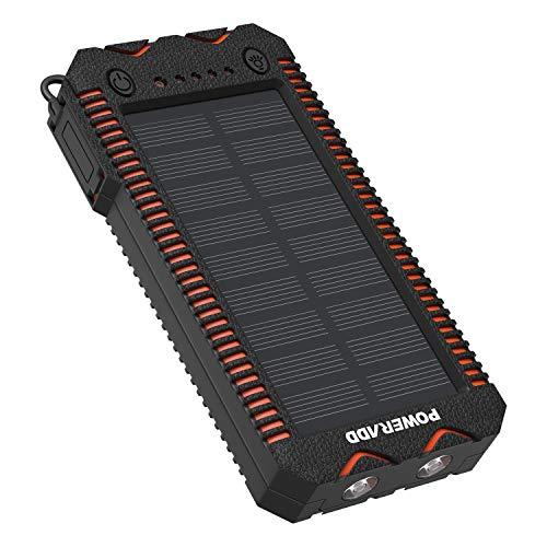 POWERADD Powerbank Solare Apollo2 Caricabatteria Portatile Batteria Esterna con Pannello Solare iPhone, iPad, Smartphone e Tablet,12000mah con 2 Luci LED, Doppia Uscita USB, Accendisigari Integrato