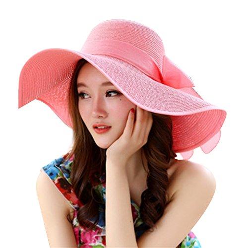 Fablcrew Chapeau de Paille de Protection Solaire Plage Pliant Chapeau de Plage Femme Chapeau