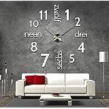 xxl 3d schwarze riesen designer wanduhr. Black Bedroom Furniture Sets. Home Design Ideas