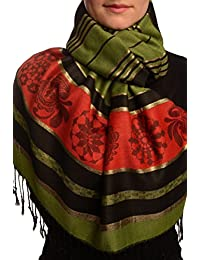 Olive Green Stripes & Gold Lurex Pashmina Feel With Tassels - Vert ?charpe Taille Unique - 70cm x 180cm