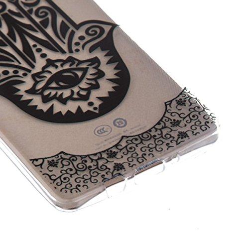 Ekakashop Transparente Flexible TPU Couqe pour Samsung Galaxy A5, Ultra Mince Doux Soft Silicone Protectrice Couverture Housse pour Galaxy A5 5.0 pouces, Motifs de Attrape Reve Cas Case Back Cover Def Palm Fleur