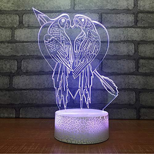 Luces festivas regalos 3D llevó la decoración del hogar 7 colores amor pájaro modelado lámpara de escritorio amor atmósferas noche luces de noche