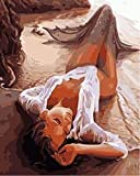 YEESAM ART Neuerscheinungen Malen nach Zahlen für Erwachsene Kinder - Sandig Strand Meerjungfrau 16 * 20 Zoll Leinen Segeltuch - DIY ölgemälde ölfarben Weihnachten Geschenke