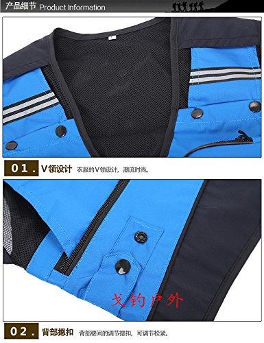 Gaorui Sommer Fliegenfischen Weste Anglerweste mit vielen praktischen Tasch life Vest Blau