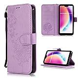 Roreikes Huawei P20 Lite Hülle Silikon, Brieftasche Lederhülle Prägung Schmetterling Pusteblume Muster Schutzhülle Flip Cover Etui Magnetischer Ständer mit Kartenfach für Huawei P20 Lite 5.84 Zoll