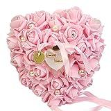Funie Romantische Rose Herz Ringe Hochzeit Geschenke Schmuck Ring Kissen (Rosa)