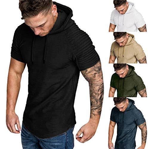 d2b5c5f59ab072 Saingace T-Shirt mit Kapuze Herren Frühling Sommer Falten Slim Fit Raglan  Kurzarm Hoodie Top